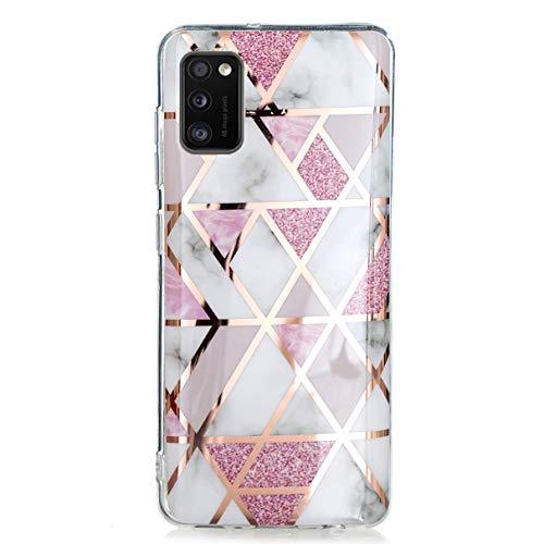YiKaDa - Hülle für Samsung Galaxy A41, Marmor Ultradünnes Weiches TPU Silikon Schutzhülle mit Glitter Bling Roségold hülle - Rosa