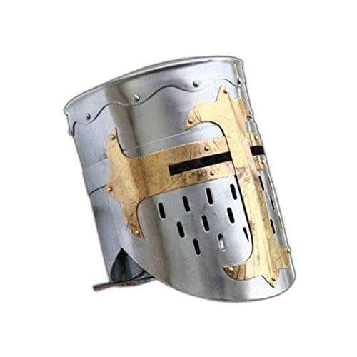 AnNafi Medieval Templar Crusader Knight Armor Helmet | Greek Roman Spartan Armour | Silver Gold Antique Helm A+ | Wearable Free-Size for Adult Costumes