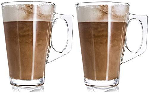 Ossian 2er Set Latte-Gläser - Premium Pack stilvolle 11cm Cafe Tassen 240ml - Ideal für Tee, Kaffee, Latte, Cappuccino, Espresso, heiße Schokolade und mehr