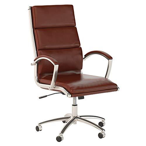 Preisvergleich Produktbild Bush Business Furniture Serie C Bürostuhl,  hohe Rückenlehne,  Leder,  Braun mit Chrom Modern Harvest Cherry Leder