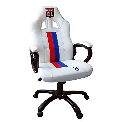 OL Olympique Lyonnais Edition limitée N°8 - Siege gaming baquet - Fauteuil gamer avec assise ergonomique - Chaise de bureau et de jeu pivotante