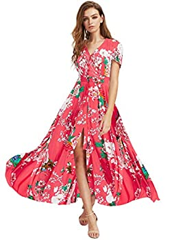 Milumia Women Button Up Floral Print Party Split Flowy Maxi Dress Coral Red Large