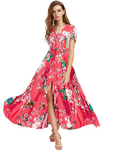 Milumia Women Button Up Floral Print Party Split Flowy Maxi Dress Coral Red X-Small