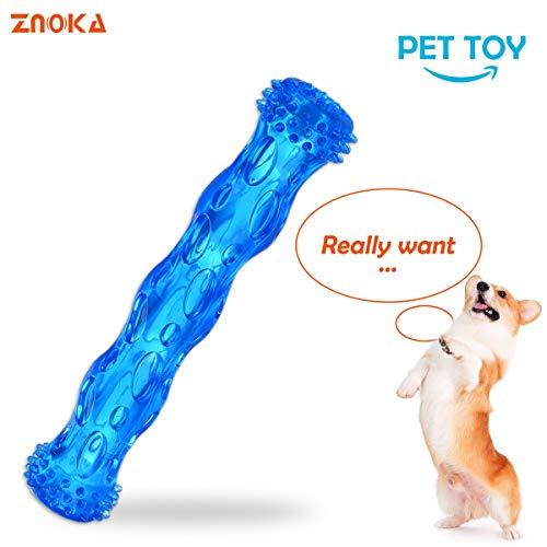 Znoka Hundespielzeug aus TPR, mit Quietschelement, bissfest, langlebig, robust, ungiftig, Zahnreinigungsspielzeug für aggressive Kauer, schwimmend und geeignet für den Einsatz im Pool, Größe L (blau)