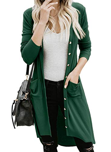 GOSOPIN Women Pocketed Button Down Long Knit Ribbed Cardigans Outwear X-Large Green