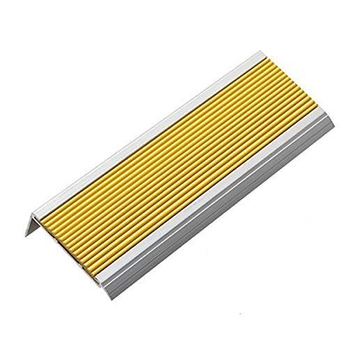 Cierre de Escaleras 1m Longitud l Forma de Aluminio Aluminio Antideslizante hidsing 70x30mm ángulo Paso Borde escaleras perfiles 5 Piezas Exterior e Interior (Color : Yellow, Size : 7x3x100cm)