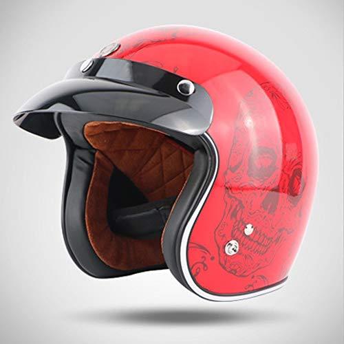 Lin-Yo Motorrad Harley Helm Jet-Helm Roller Retro Mofa Scooter-Helm 3/4 Motorrad-Helm DOT/ECE-Zulassung für Herren Damen Pedallokomotive Cruiser Roller Chopper Pilot