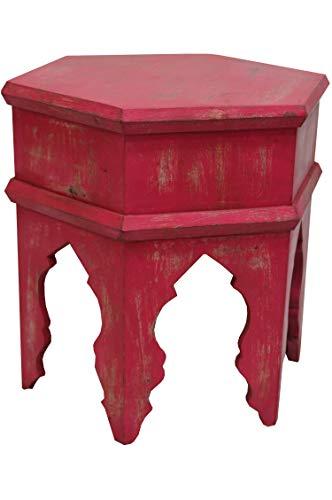Marokkanischer Vintage Beistelltisch Hocker aus Holz Inam Rot ø 50cm rund | Orientalischer runder Tisch Blumenhocker klein für Wohnzimmer oder Küche | Orientalische Beistelltische als Dekoration