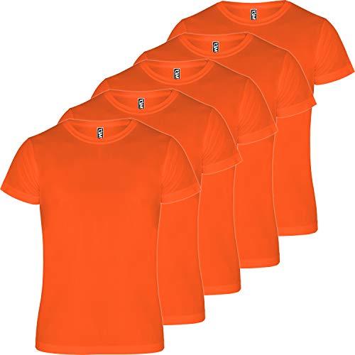 13MW Camiseta técnica Hombre | Pack 5 | Tejido técnico para Deporte | Transpirable | Running, Fitness, Fútbol, Padel (Naranja, L)