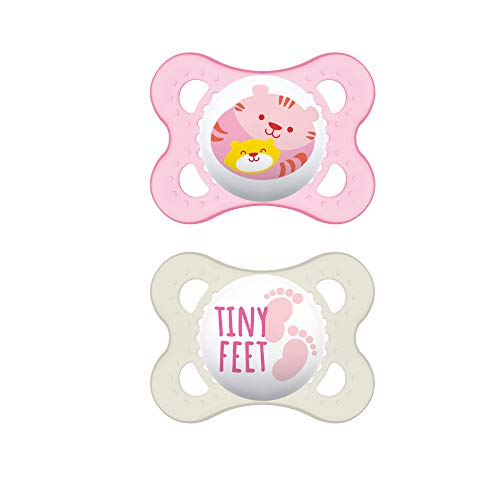 MAM Animal Collection Pacifiers (2 pack, 1 Sterilizing Pacifier Case), MAM Pacifier 0-6 Months, Baby Pacifiers, Baby Girl, Best Pacifier for Breastfed Babies