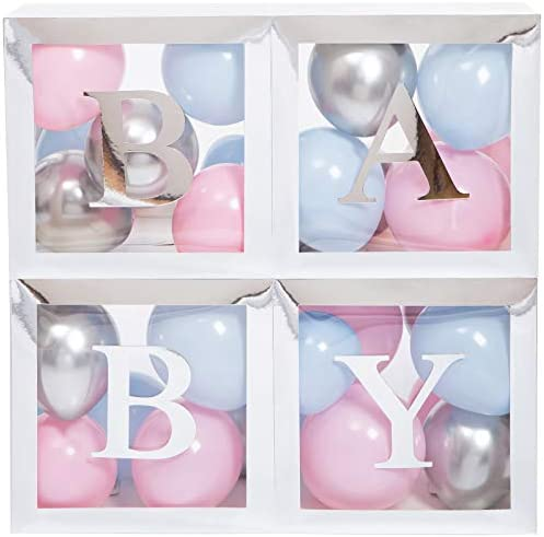 Baby Shower Boxes Party Decorations 45 pcs 33 Macaron Balloons 4 Clear Transparent Blocks 8 product image