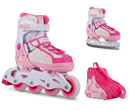 JAMBACH Inliner und Schlittschuhe 2 in 1 verstellbare Inline Skates und Ice Skates in pink rosa für Mädchen (M (37-40), rosa)