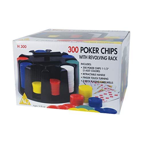 300 Poker Chips with Revolving Black Rack