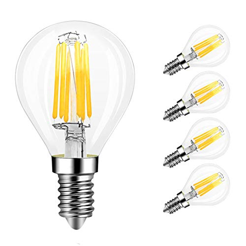 MD Lighting 4-Pack E14 6W G45 Dimmable LED Filament Bulb, 2700K Warm White 600LM Edison Candle Light Bulb, G45 Clear Glass Globe Cover, 60 Watt Equivalent, AC 110V