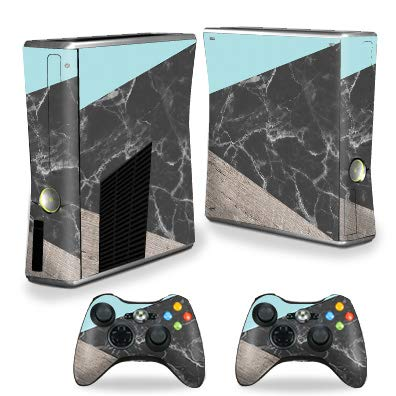 MightySkins Skin Compatible with Xbox 360 S Console - Wood and Marble   Protective, Durable, and Unique Vinyl Decal wrap Cover   Easy to Apply, Remove, and Change Styles   Made in The USA