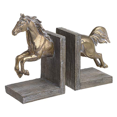 Inart Polyresin Buchstütze 2-er Set Pferd Antique Golden Weiß L29.5 x B11 x H23