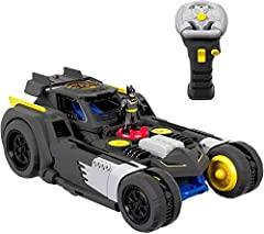 Remote-controlled Batmobile transforms to raised battle mode! Use remote to send Batman zooming in the vehicle forward, back, right, left, or spinning all around Batmobile transforms with lights & sounds then returns to vehicle mode Use the remote co...