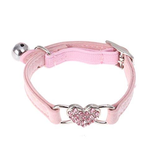 UEETEK Collier pour chien et chat avec cœur et clochette en velours réglable (rose clair)