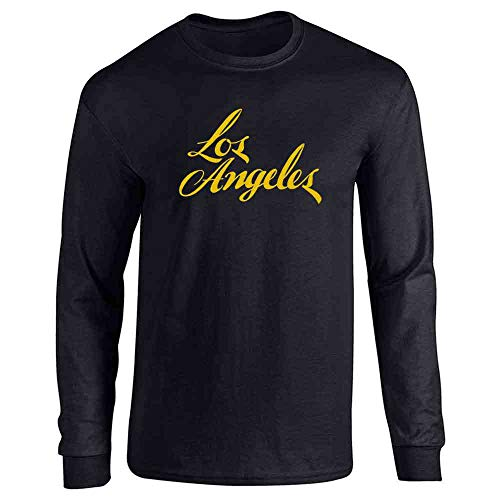 Pop Threads Los Angeles California Retro Text Travel Black L Full Long Sleeve Tee T-Shirt