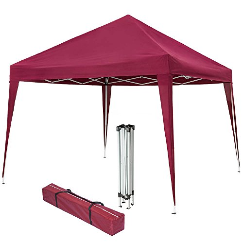 TecTake 800180 Faltbarer Garten Pavillon 3x3 m inkl. Tragetasche, Aufbau mit wenigen Handgriffen - Diverse Farben (Rot | Nr. 401622)