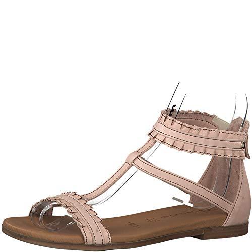 Tamaris 1-1-28128-22 Damen Schaftsandalen,Sandale,Sandalette,Sommerschuh,bequem,flach,Reißverschluss,Touch-IT,Rose,40 EU