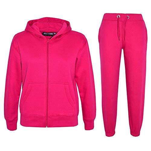 A2Z 4 Kids® Kinder Mädchen Jungen Einfach Trainingsanzug Mit Kapuze Hoodie Hosen Jog Suit Jogginghose s Neu Alter 7 8 9 10 11 12 13 Jahre (7-8 Jahre (122-128), Rosa)