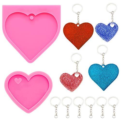 2 pezzi Stampi in silicone per resina 6 pezzi portachiavi con catena, forma di cuore di animale domestico portachiavi fatto a mano stampo in silicone con foro stampo portachiavi per torta
