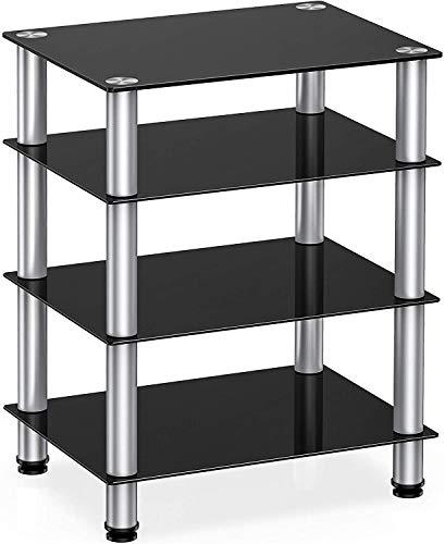 FITUEYES HiFi-Rack AV-Regal 4-stufiger Glas-TV-Ständer mit Medienregalen aus gehärtetem Glas Schwarz für Plattenspieler-Plattenspieler DVD Xbox-Ständer Audio Entertainment Unit Media Cabinet
