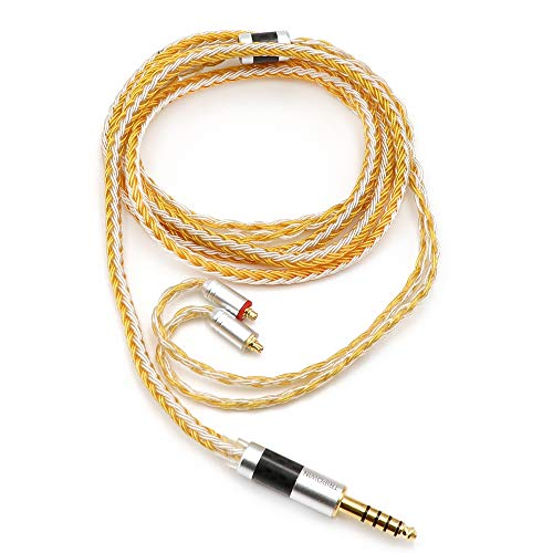 Linsoul Tripowin Zonie 16 Core Silver Plated Cable SPC Earphone Cable (MMCX-4.4mm, Gold)