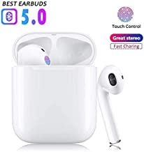 Wireless Earbuds Bluetooth 5.0 Headphones with Fast Charging Case True Wireless HD Stereo Headphones with Built-in Dual HD Mic Earphones for Samsung Airpods iPhone Apple Earbuds