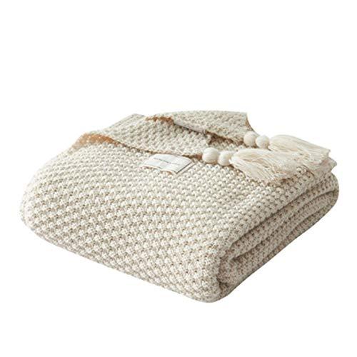 CNmuca Cobertor de sofá estilo nórdico Cobertor de sesta de escritório borla bola de tricô de lã de lazer ar condicionado cobertor bege