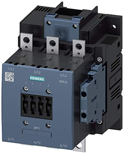 Siemens 3RT10 55-6AF36 Motor Contactor, 3 Poles, S6 Frame Size, Screw Terminals, Conventional Coil, 2 NO + 2 NC Auxilliary Contacts, 150 AC3 Amp Rating, AC 40-60Hz, DC 110-127V