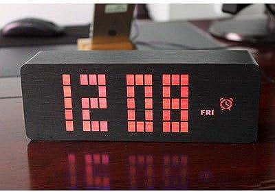 LILUO Moda Creativa muda Luminosa LED Despertador de Madera de Múltiples Funciones Reloj Digital hogar Relojes