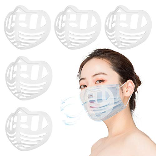 5 PCS 3D Face Shield Inner Support Frame, Homemade Cool Silicone Washable Reusable Bracket for Lipstick Protection and Supporting More Breathing Space