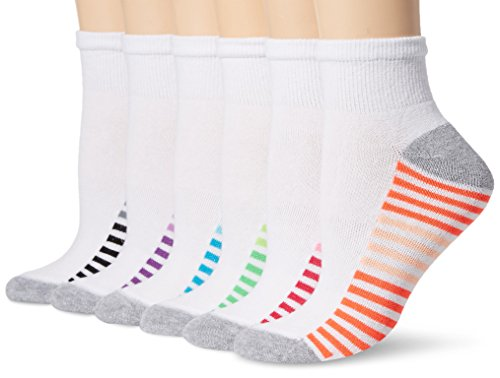 Hanes Plus Women's 6-Pack Sport Cool Comfort Ankle, White/Grey Heather Assortment, Shoe Size: 8-12