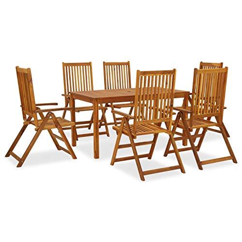 Tidyard Sofa Jardin Exterior Conjunto Mesas y Sillas Jardin 6# Set de Comedor de jardín 7 Piezas Madera Maciza de Acacia