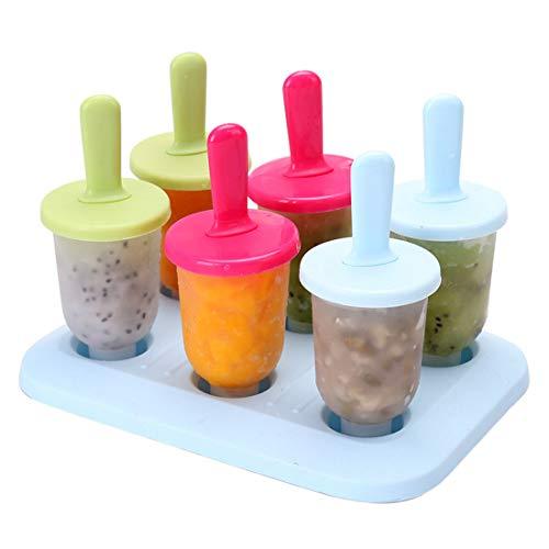 AllRing Juego de 6 moldes para helados, moldes para helados, moldes para palitos de helado, sin BPA, con palitos y protección antigoteo, para niños, adultos y frigorífico (estilo 8)