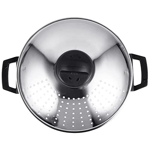 BESTonZON Olla de Vapor de Acero Inoxidable Olla de Vapor Utensilios de Cocina Multifuncional Olla de Fideos de Sopa de Vapor 16CM