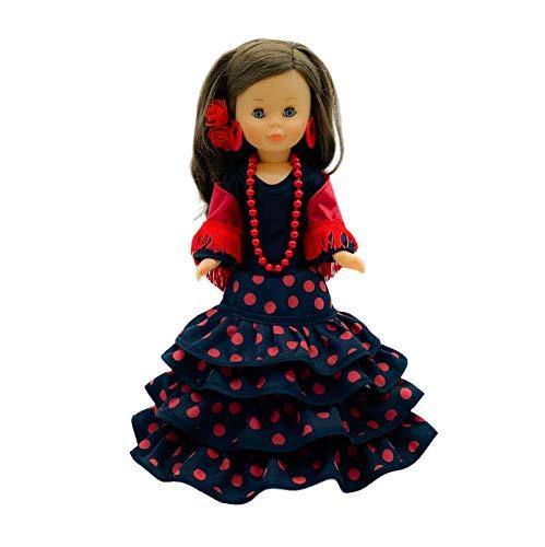 Folk Artesanía Set Vestido Regional, mantón y Percha Flamenca Andaluza Gala con Cola para muñeca Nancy, Sintra, Mina, Noa. Muñeca no incluida.