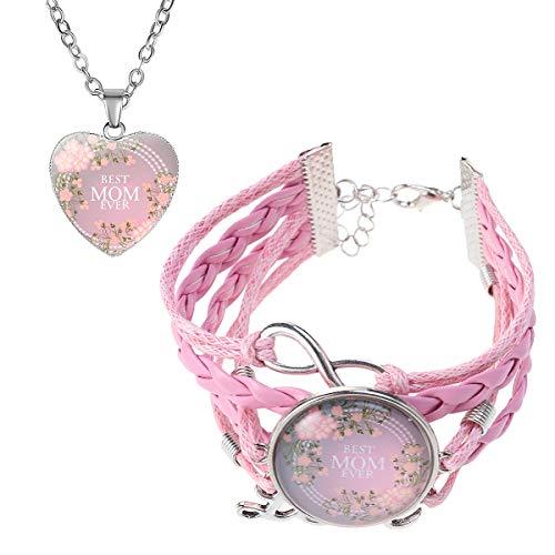 Amosfun - Juego de Collar y Pulsera con Forma de corazón (Flor de Ciruela Rosa)