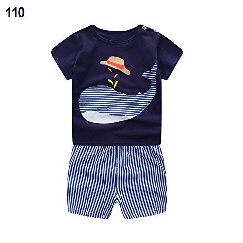 Per Garçons Shorts Set Coton Rayé Panda Bib T-shirt À Manches Courtes Shorts Costume Sport Pour Enfants Vêtements Ensemble