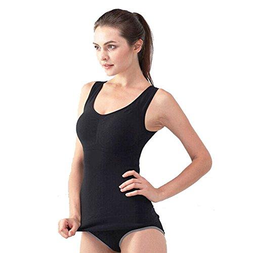 Women's Cami Shaper Tank Top with Built in Bra Removable, Shapewear Tank for Women (Black, Medium)