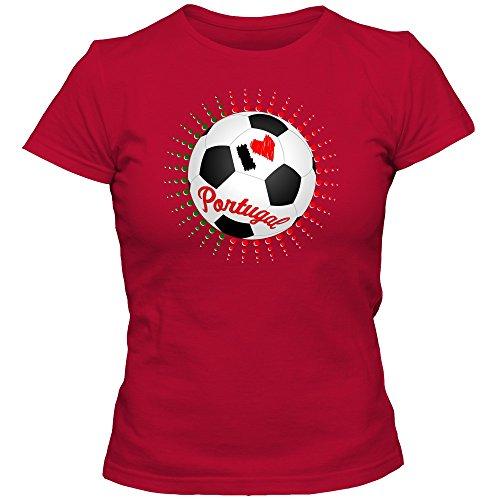 Portugal WM 2018#6 T-Shirt   Seleção das Quinas   Fußball   Damen   Trikot   Nationalmannschaft, Farbe:Rot (Red L191);Größe:M