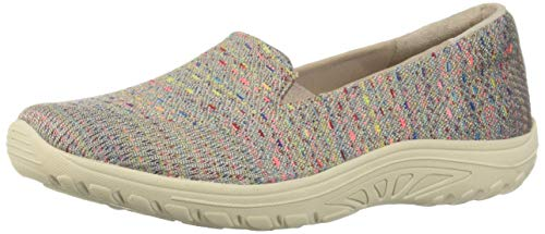 Skechers Women's Reggae Fest-Wicker-Engineered Knit Twin Gore Slip On (Willows) Loafer Flat, Taupe, 7 M US