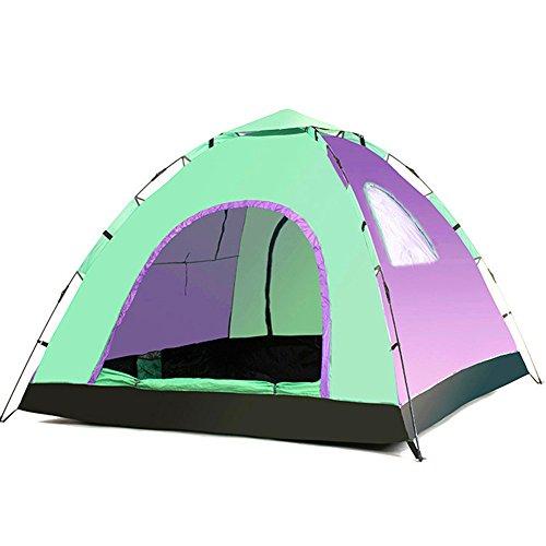 CCMMUU Kuppelzelte Bergsteigerzelt 3-4 Automatisches Lüftungszelt Windproof Sunscreen Wasserdichtes Zelt Geeignet für Outdoor-Sportler Faltzelt (Farbe : Purple Pale Green, größe : 215 * 215 * 135 cm)