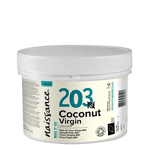 Naissance Aceite Vegetal de Coco BIO 250g - 100{b6d65fe383f81b14ba033eae71c2f079af9f6e3b23658ee7fb4744e33efffafa} puro, virgen, prensado en frío, certificado ecológico, vegano y no OGM