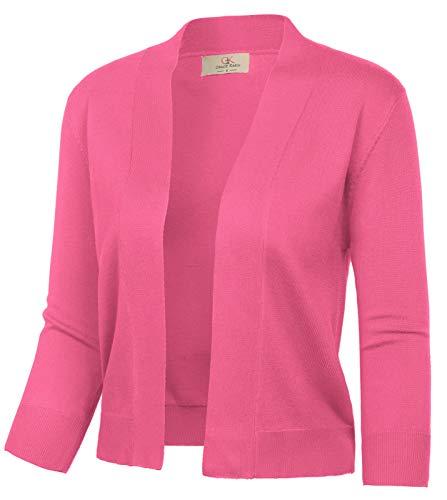 GRACE KARIN Women's Lightweight Knit Cardigan 3/4 Sleeve Shrug Open Front Cropped Bolero Jacket (Brink Pink,L)