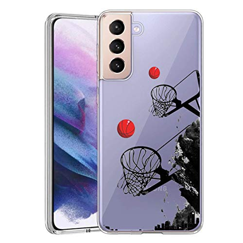 ARNOLDCASE Case for Samsung Galaxy S21 5G Clear Ultra-Thin Case for Basketball Samsung Galaxy S21 5G Soft Waterproof Case Compatible for Samsung Galaxy S21 5G-Basketball