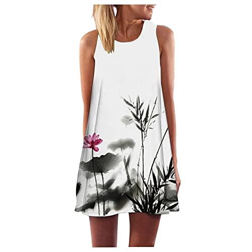 XUEBing Vestido corto con estampado de playa para mujer, estilo vintage, bohemio, verano, floral, hombros descubiertos, vestido de túnica