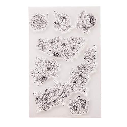 WuLi77 Silikon-Stempel mit Blumenranken-Motiv, für Karten, Schablonen zum Basteln, Prägen, Fotoalbum, Basteln, Handarbeit